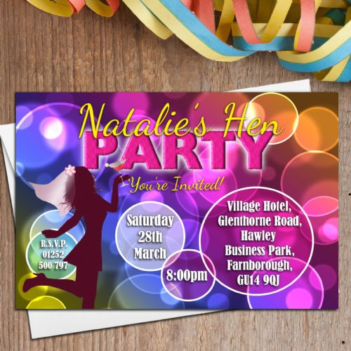 10 Personalised Hen Night Party Invitations Invites N24